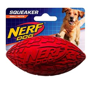 Nerf Tire Squeak Football Dog Toy Small Red
